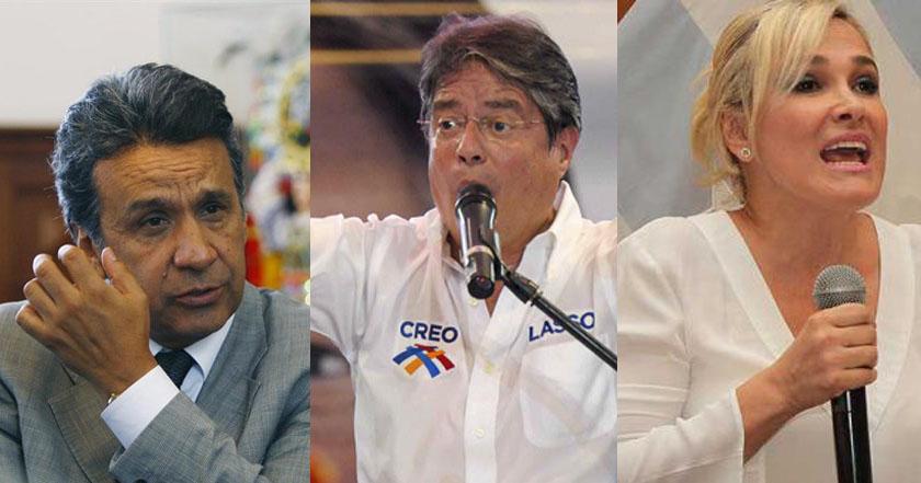 elecciones presidenciales en Ecuador Lenín Moreno Guillermo Lasso y Cynthia Viteri