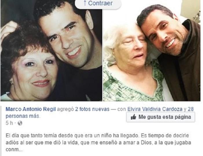 Critican redes a Marco Antonio Regil por foto con su madre muriendo