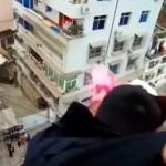 Hombre atrapó en pleno salto a esposa que intentaba suicidarse