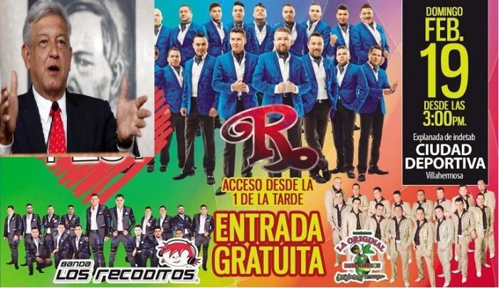 Con bandas como 'El Recodo' pretenden boicotear a AMLO en Tabasco
