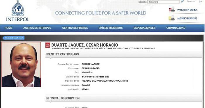 Interpol empezará a buscar a César Duarte
