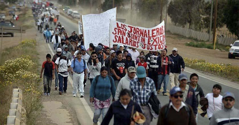 Caravana Nacional por un salario digno los Jornaleros de San Quintín baja california trabajadores 2