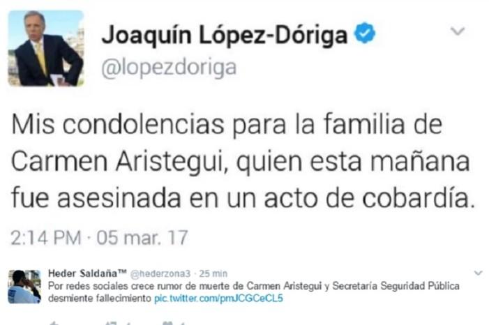 López-Dóriga desmiente tuit sobre la muerte de Carmen Aristegui