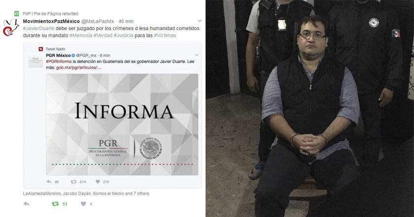 Organizaciones exigen juicio a javier Duarte por crímenes de lesa humanidad