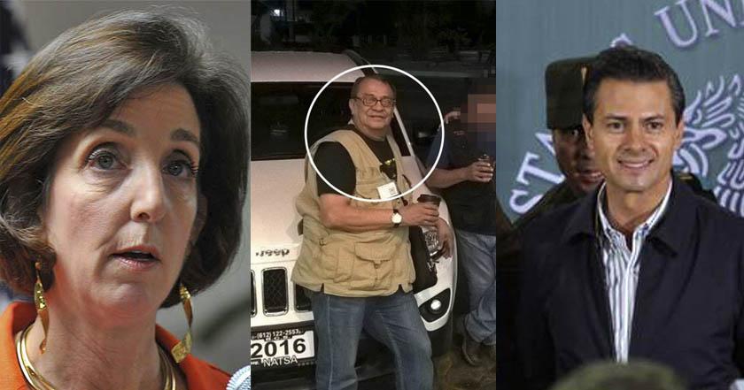 De izquierda a derecha: La embajadora de Estados Unidos en México, Roberta Jacobson; el periodista mexicano, Max Rodríguez Palacios, asesinado el 14 de abril de 2017; Enrique Peña Nieto