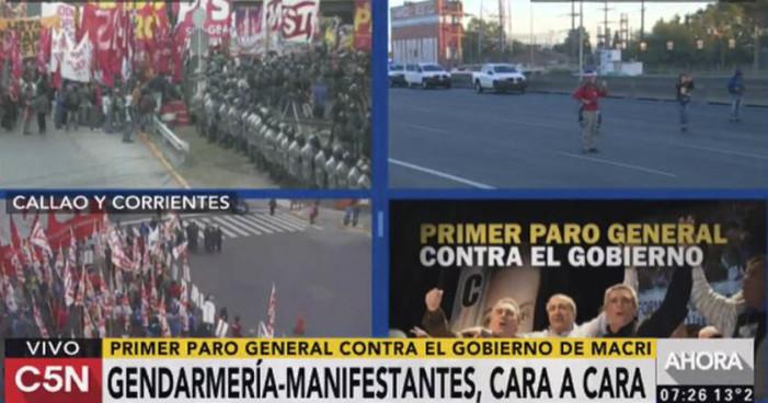 Policía reprime Primer Paro General contra el Gobierno argentino de Macri