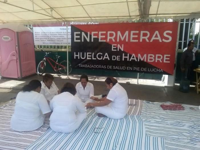 Van cinco días de la huelga de hambre de enfermeras en Chiapas