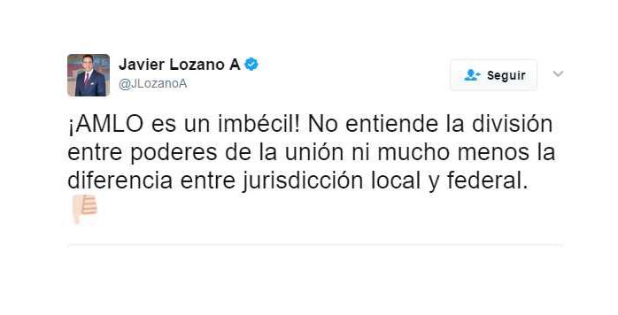 'AMLO es un imbécil', según Javier Lozano