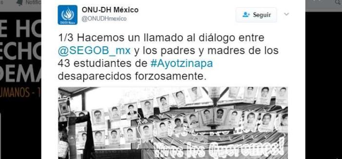 ONU pide a Secretaría de Gobernación dialogar con padres de Ayotzinapa