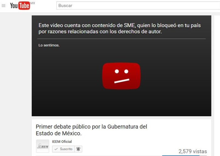 Descuido del IEEM provoca que Youtube y Sony baje video del Debate por Edomex