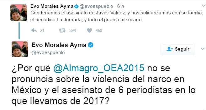 Presidente boliviano condena el asesinato a tiros de periodista mexicano