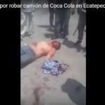 Propinan golpiza a ladrón que intentó robar camión de Coca Cola en Ecapetec