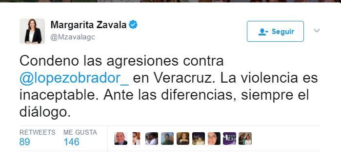 Margarita Zavala condena la agresión contra AMLO