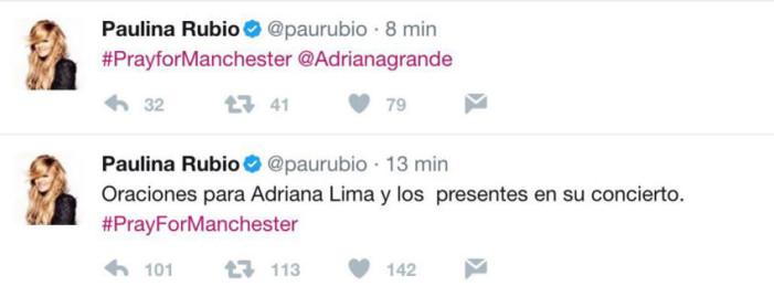 Paulina Rubio confunde a Ariana Grande con Adriana Lima y Adriana Grande