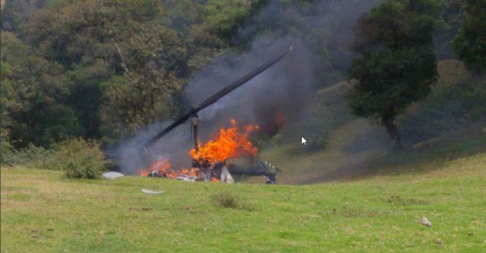 Se desploma helicóptero en donde viajaría líder del PVEM