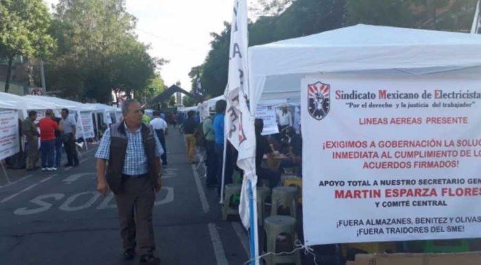 SME instala plantón frente Segob por incumplimiento de acuerdos