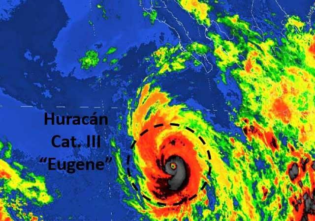Huracán Eugene alcanza categoría 3 frente a México