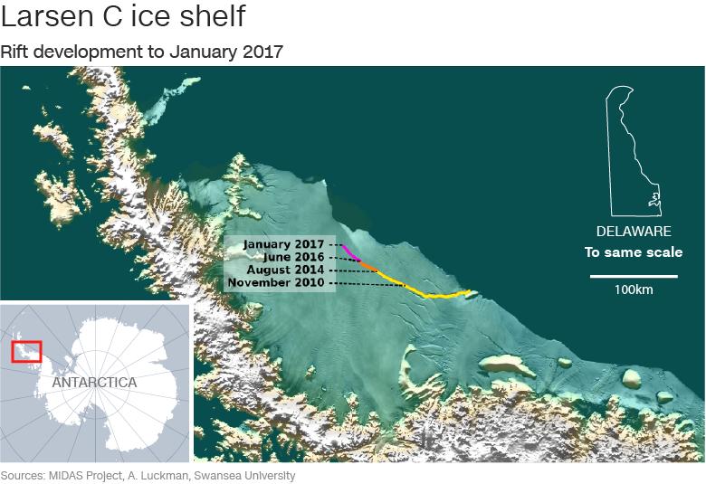 Desprendimiento de hielo forma gigantesco iceberg en la Antártida