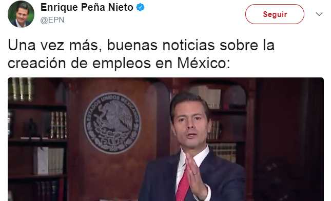 Tunden en redes a Peña Nieto por decir que este es el 'sexenio del empleo'