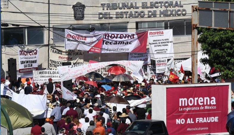 Instala Delfina plantón en el Tribunal Electoral del Edomex