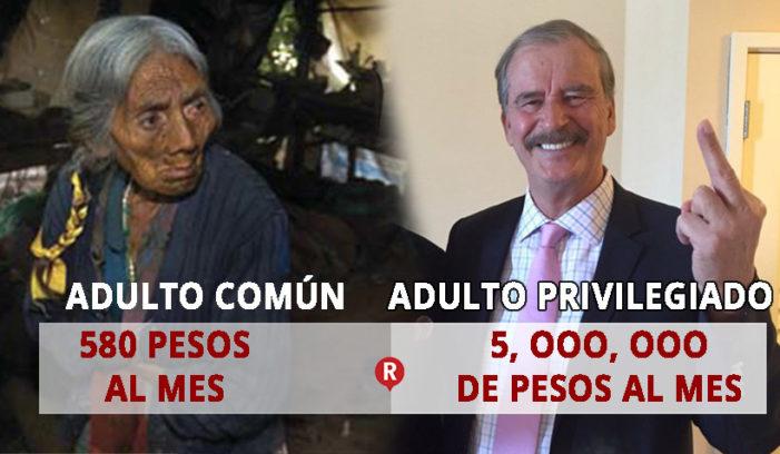 Adultos mayores reciben sólo $580 pesos al mes y Vicente Fox 5 mdp de pensión
