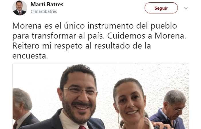 Batres respeta resultado de la encuesta y pide cuidar a Morena