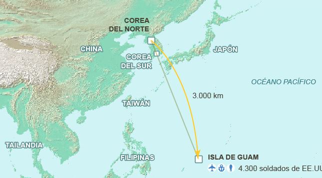 Corea del Norte amenaza base Guam de Estados Unidos