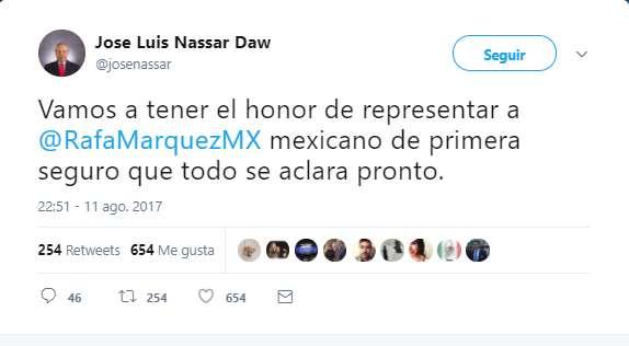 Abogado de Rafa Márquez presume que lo va a defender