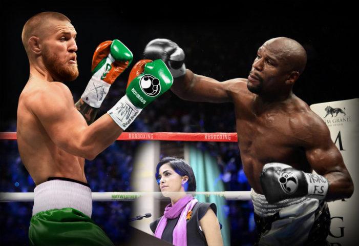 Diputada del Verde se promocionó en pelea de Mayweather-McGregor