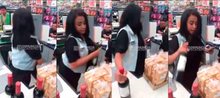 Captan a mujer robando 4 botellas de vino (VIDEO)