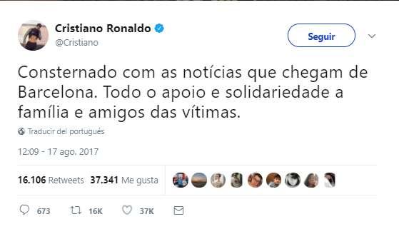 Cristiano Ronaldo y el El Barça lamentan el atentado terrorista en La Rambla, Barcelona
