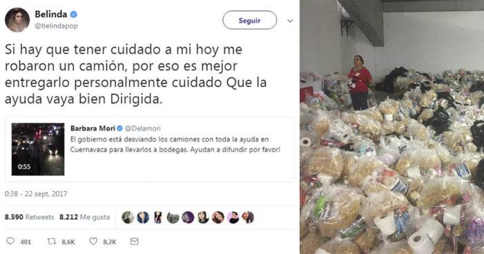 Belinda también denuncia que DIF Morelos le robó un camión con ayuda