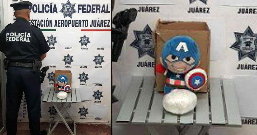 Aseguran peluche del Capitán América con droga