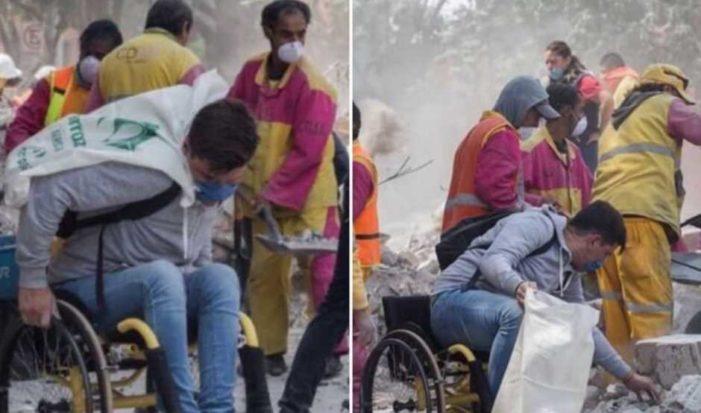 Joven en silla de ruedas brinda apoyo como voluntario para rescatar a su amigo