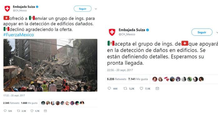 México acepta ayuda de Suiza tras haberla rechazado
