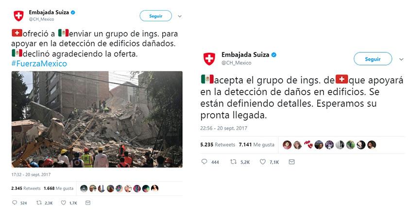 Viene Suiza también a apoyar a México