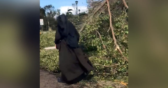 Monja con motosierra ayuda a limpiar desastre causado por huracán Irma (Video)