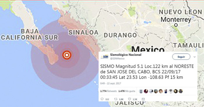 Se registra sismo de 5.1 grados en costas de BCS