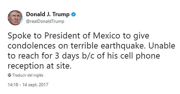 Trump: 'no pude dar mis condolencias a México porque Peña no tenía señal'