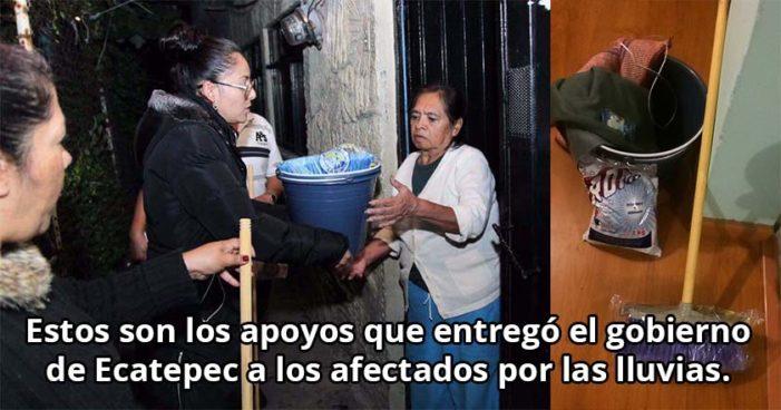 Una escoba y una cubeta, lo que entregó Gobierno de Ecatepec a afectados por lluvias