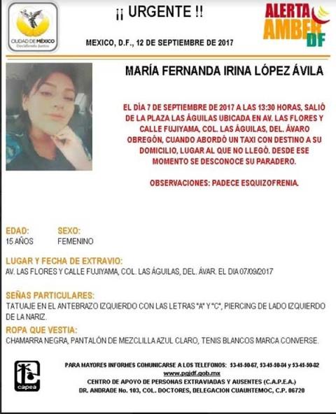 Encuentran a María Fernanda tras reporte de desaparición