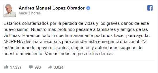 AMLO expresa consternación por el sismo; 'Morena apoyará en lo que se requiera'