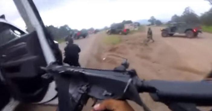 Captan balacera entre hombres armados y la Policía en Chihuahua (Video)