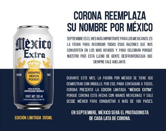 Cerveza 'Corona' se llamará 'México', ahora ¿vamos a echarnos un mexiquito'