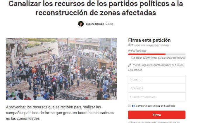 Piden a INE canalizar recursos que otorga a partidos para la reconstrucción de México ¡FIRMA!