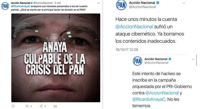 'Hackean' cuenta de Twitter del PAN y atacan a Ricardo Anaya