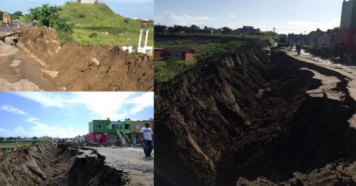 Lluvias causan impresionante socavón en puerto de Veracruz