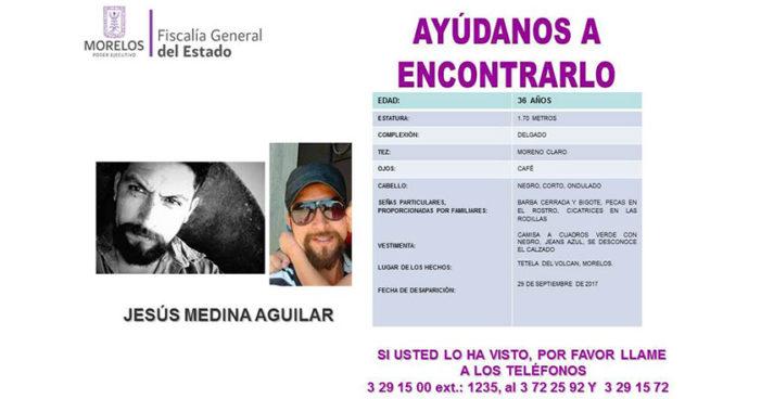 Aún no aparece brigadista Jesús Medina Aguilar, desapareció hace 72 horas en Morelos