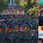 Puigdemont encabeza mega marcha en Barcelona contra las medidas de Rajoy