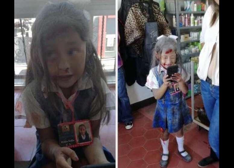 Se disfraza de Frida Sofía, la niña atrapada en el sismo